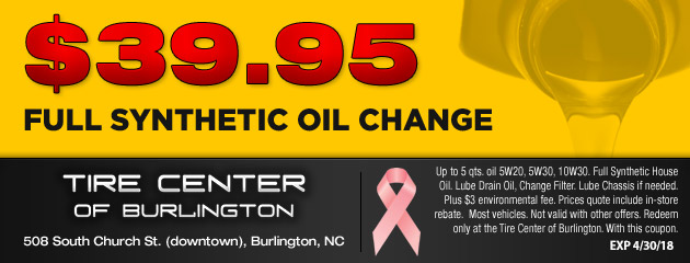 $39.95 Synthetic Oil Change
