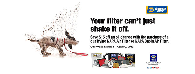 NAPA save $15 off an oil filter