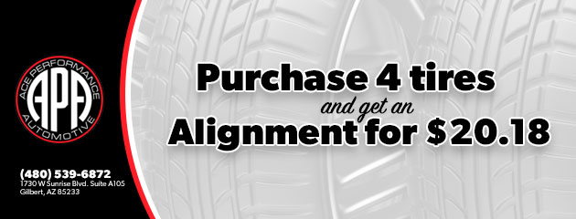 Purchase 4 Tires and get an alignment for $20.18