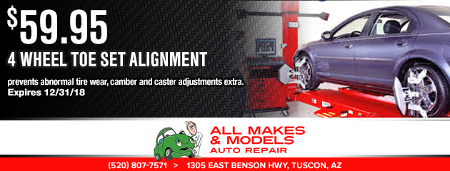 $59.95 -  4 Wheel Toe Set Alignment