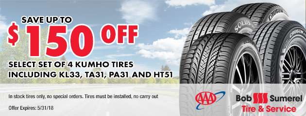 Save up to $150 off select set of 4 Kumho tires