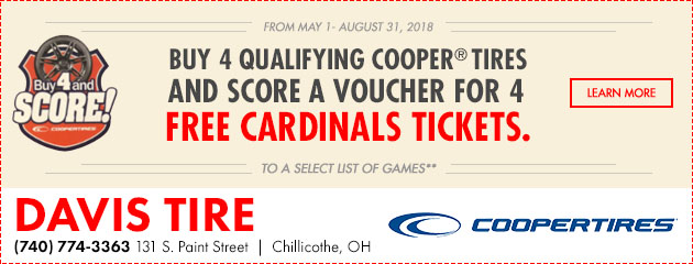 Buy 4 Qualifying Cooper Tires and Score a Voucher for 4 Free Cardinals Tickets
