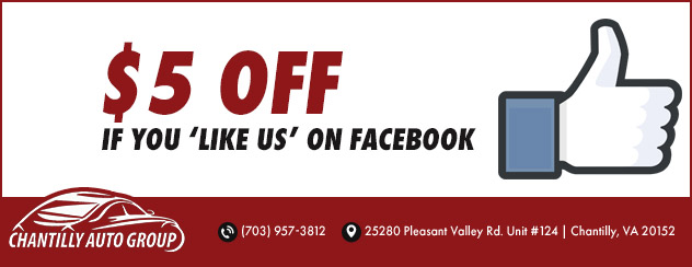 "$5 off when you ""Like Us"" On Facebook"