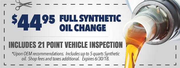 $44.95 Full Synthetic Oil Change