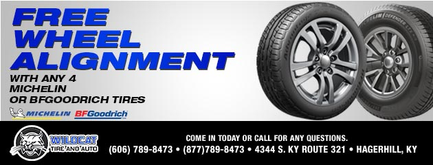 Free Wheel Alignment with Any 4 Michelin or BFGoodrich tires