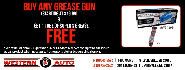 Buy Any Grease Gun and Get 1 Tube of Super S Grease Free