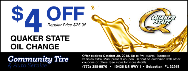 $4 Off Quaker State Oil Change