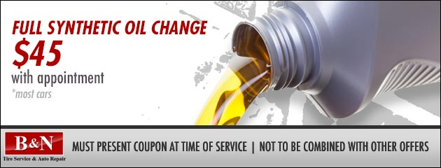 Full Synthetic Oil Changes - $45