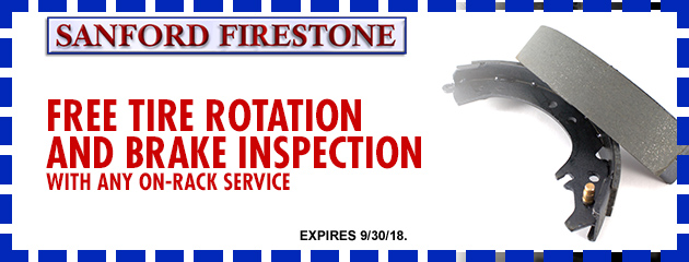 Free Tire Rotation and Brake Inspection with any on-rack service