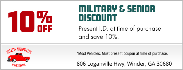10% Discount for Military and Seniors