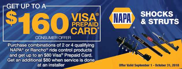 Get up to $160 Visa card on NAPA Shocks & Struts