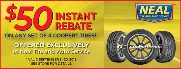 $50 Instant Rebate on any set of 4 Cooper Tires!