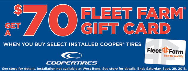 Get a $70 Gift Card when you buy Select Installed Cooper Tires