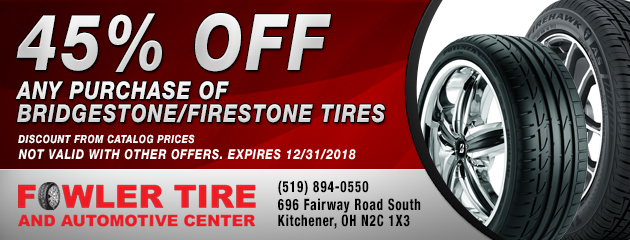 45% off Any Purchase of Bridgestone/Firestone Tires