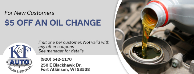$5 off an oil change for new customers