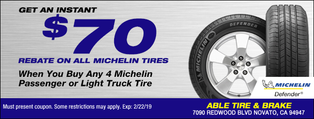 Instant in-store $70 rebate all Michelin