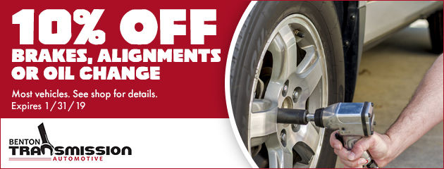 10% off brakes, alignments or oil change