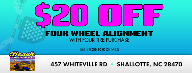 $20 Off  Four Wheel Alignment with Four Tire Purchase