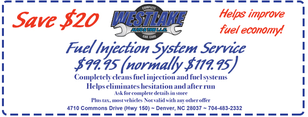 $99.95 Fuel Injection System Service