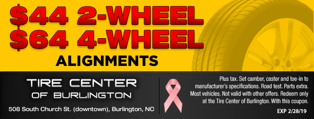 $44 for 2 Wheel, $64 for 4 Wheel Alignments