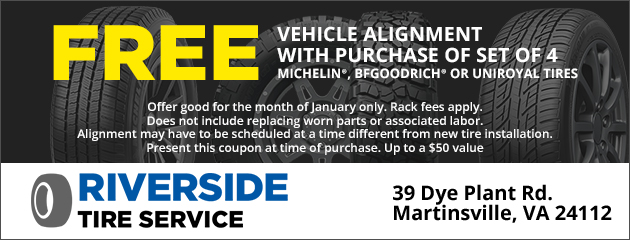 Free Vehicle Alignment with purchase of set of 4 Michelin®, BFGoodrich® or Uniroyal tires