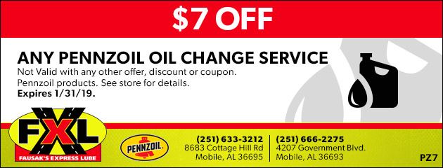$7 OFF Any Pennzoil Oil Change Service