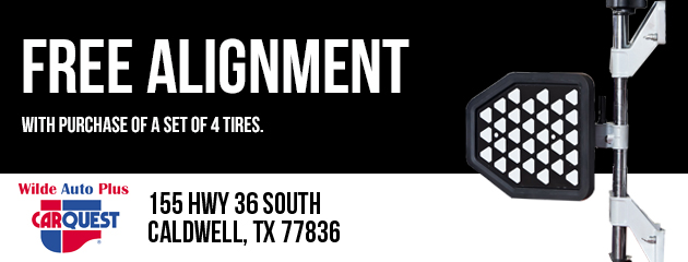 Free Alignment with purchase of a set of 4 tires
