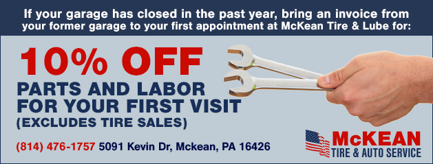 10% off parts and labor for your first visit