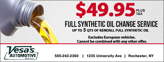 $49.95 Full Synthetic Oil Change Service