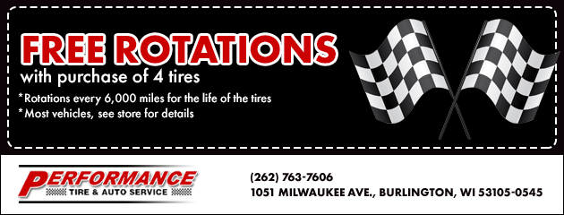 Free Rotations with the purchase of 4 tires