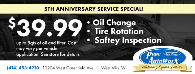 5th Anniversary Service Special! $39.99  Oil Change, Tire Rotation, and Safety Inspection!