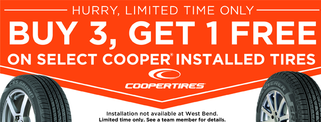 Buy 3, Get 1 Free on select Cooper Installed Tires