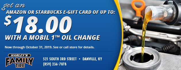 Get an Amazon or Starbucks e-gift card of up to $18 with a Mobil 1™ oil change