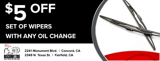$5 off set of wipers with any oil change