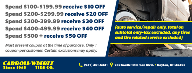 Used Tires Dayton Ohio >> Auto Repair Tire Shop In Dayton Oh Carroll Wuertz Tire Company