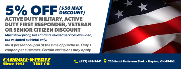 Active duty military, active duty first responder, veteran or senior citizen discount