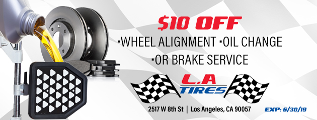 $10 off wheel alignment, oil change, or brake service
