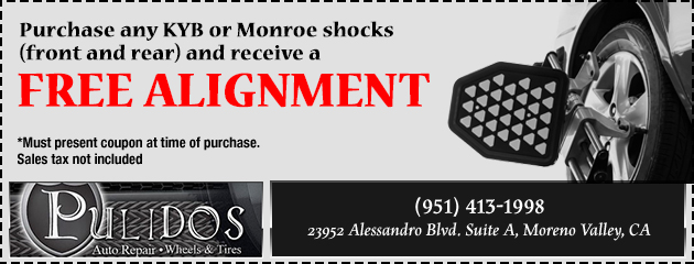 Purchase any KYB or Monroe shocks and get a free 4 wheel alignment