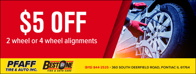 $5 off 2 wheel or 4 wheel alignments.