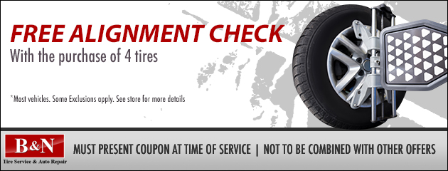 Free alignment check - With the purchase of 4 tires.