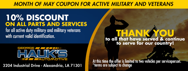 Month of May coupon for Active Military and Veterans