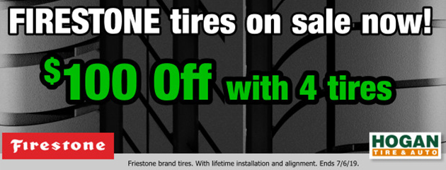 Firestone: Extra $100 OFF with 4 tires.