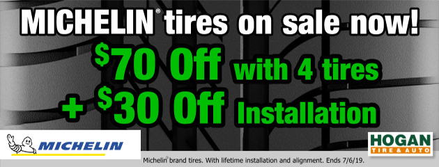 Michelin: Extra $70 OFF, plus $30 OFF installation with 4 tires