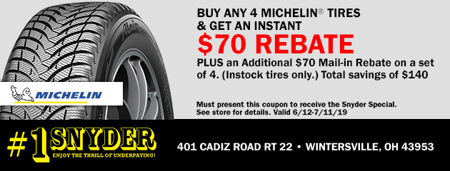 Buy Any 4 Michelin Tires & Get an Instant $70 Rebate