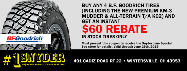 Buy Any 4 BFGoodrich Tires & Get an Instant $60 Rebate