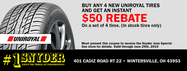 Buy any 4 Uniroyal tires & Get an Instant $50 Rebate