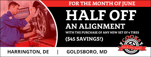 Half off an alignment ($45 savings) with the purchase of any new set of 4 tires.