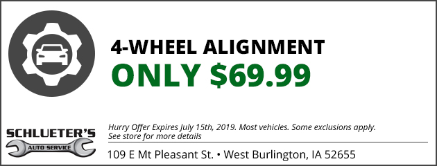 $69.99 - 4 Wheel Alignment