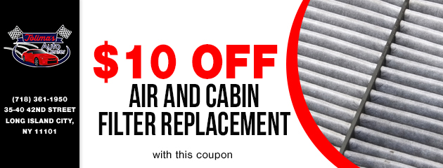$10 off Air + Cabin Filter replacement