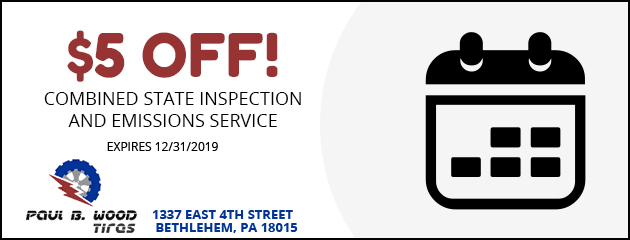 $5 Off!  combined state inspection and emissions service